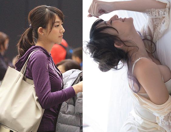 左がフジテレビ時代、右が写真集の大島アナ